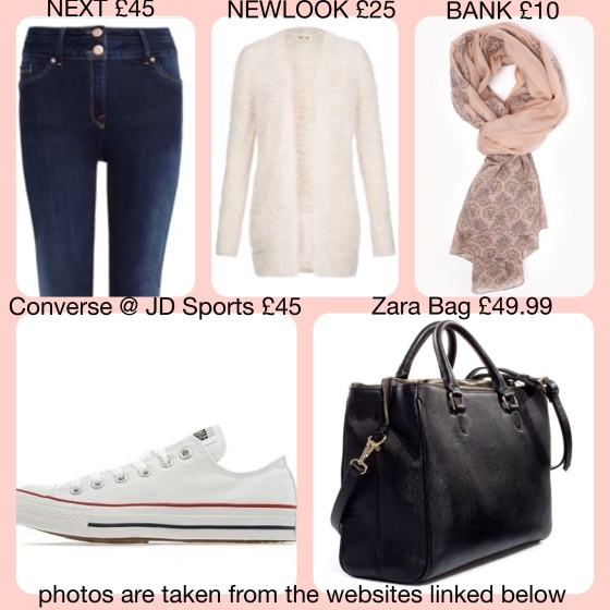 Next, Newlook, Zara, converse, city bag, skinny jeans, bank, scarf, flock, nude, Lana del Rey
