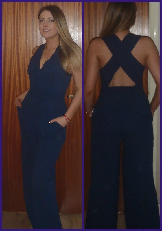 In Love with fashion cross back navy jump suit